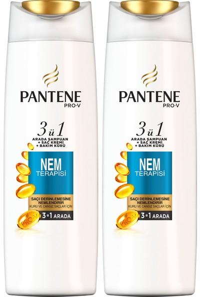 Pantene 3'ü 1 Arada Şampuan + Krem + Bakım Kürü Nem Terapisi 470 ml x 2