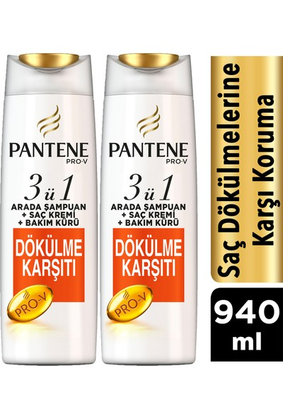 Pantene 3'ü 1 Arada Şampuan + Krem + Bakım Kürü Saç Dökülmelerine Karşı Etkili 470 ml x 2