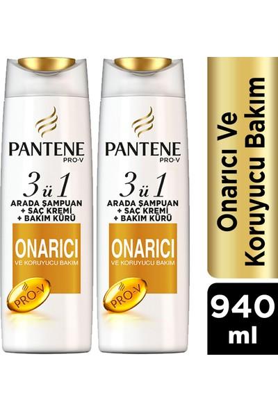 Pantene 3'ü 1 Arada Şampuan + Krem + Bakım Kürü Onarıcı Koruyucu 470 ml x 2