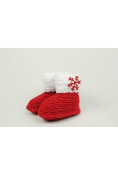 HL Yılbaşı Özel / Kar Tanecikli Kırmızı Örgü Patik Yetişkin