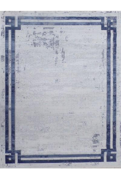 Balat Halı Mavi Çerçeveli Taşlama Mavi Oturma Odası Halısı