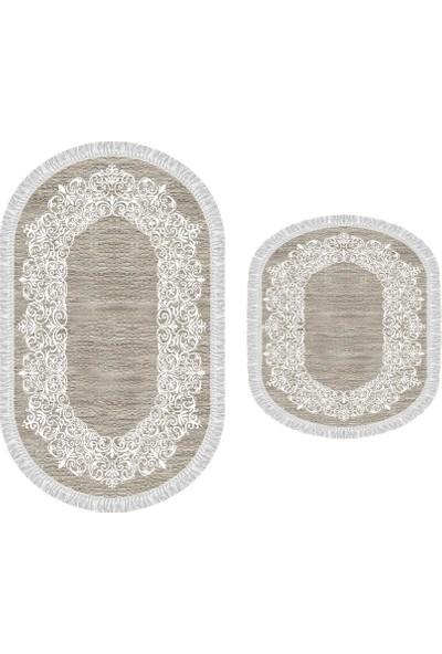 Decoling İpek 1811 Kahve Dekoratif Oval Klozet Takımı