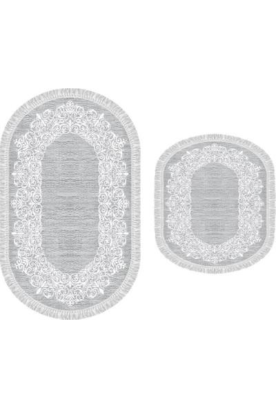 Decoling İpek 1812 Gri Dekoratif Oval Klozet Takım