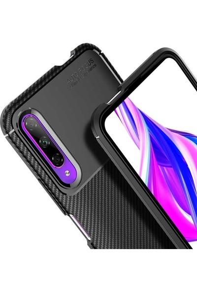 Teleplus Huawei P Smart Pro Kılıf Negro Karbon Dokulu Silikon + Nano Ekran Koruyucu Kahverengi