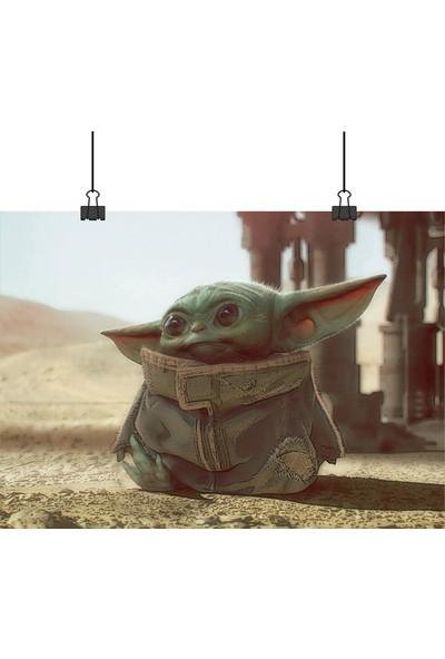13 Poster Star Wars Mandalorian Baby Bebek Yoda Ayaklı Boyalı Gibi 33 x 48 cm Poster
