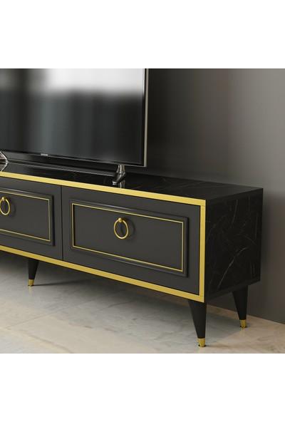 Arnetti Vals Tv Ünitesi Mermer Desen Siyah Gold