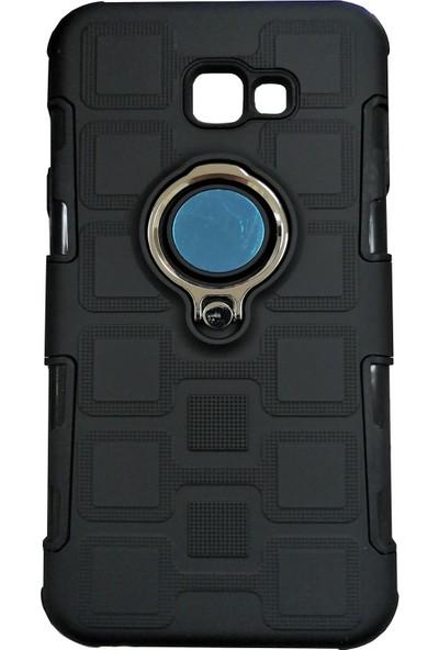 Samsung Galaxy J4 Plus Mıknatıslı Yüzüklü Zırhlı Silikon Kılıf - Siyah - Mavi