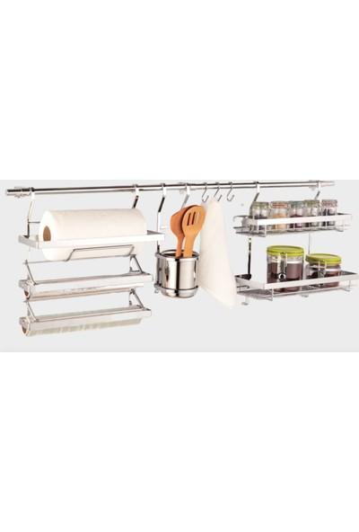 Hafele Treno Kağıt Havluluk + Folyoluk + Baharatlık Rafı + Kaşıklık Set - 100 cm