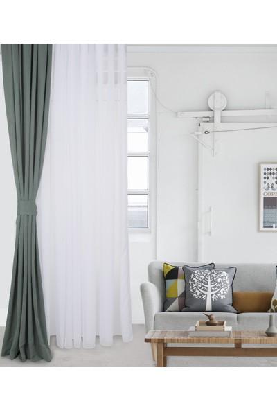 Gauze Fabric Design Safır Koyu Yeşıl Fonluk Perde 50 x 260 cm Pilesiz