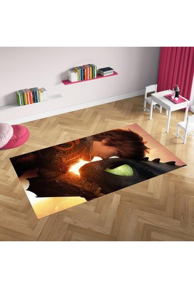 Hometeks Ejderha ve Çocuk Desenli Kaymaz Taban Çocuk Odası Halısı 60 x 100 cm