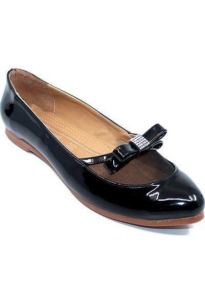 Ayakcity 204A Siyah Günlük Fiyonklu Bayan Rugan Babet Ayakkabı - Siyah - 39