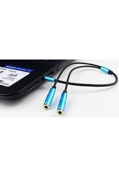 Upjaks Stereo 3.5 mm Gold 4 Boğum Kulaklık Çoklayıcı Y Splitter Kablo