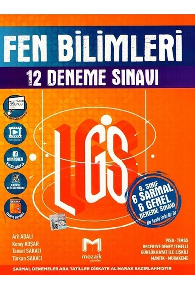 Mozaik Yayınları 8.Sınıf LGS Fen Bilimleri 12'li Deneme Sınavı
