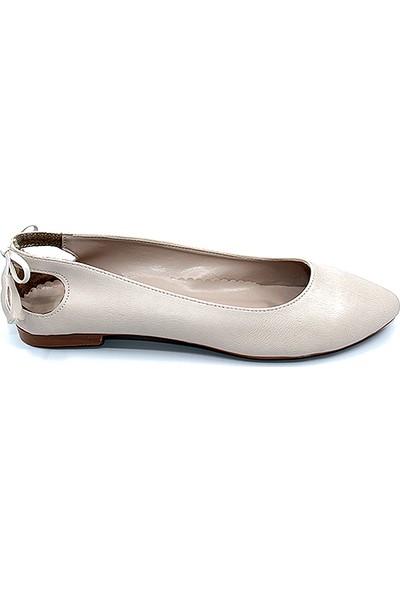 Ayakcity 302 Günlük Fiyonklu Bayan Cilt Babet Ayakkabı Krem - 37