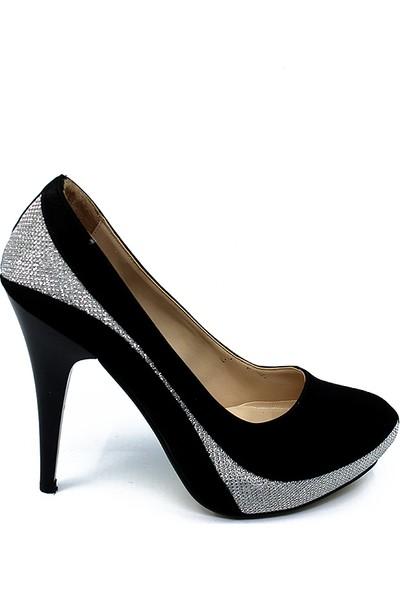 Ayakcity 318 Platform Bayan 10Cm Topuklu Ayakkabı Stiletto Siyah - 36