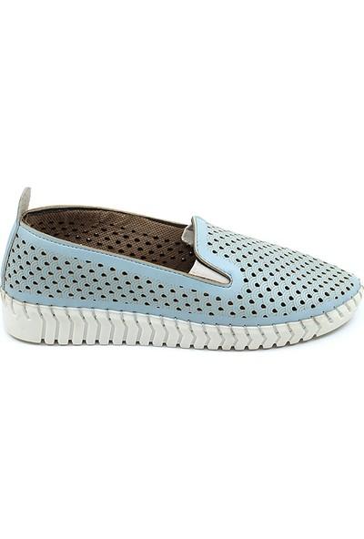 Ccway 296 Deri Delikli Yazlık Kadın Babet Ayakkabı Mavi - 36