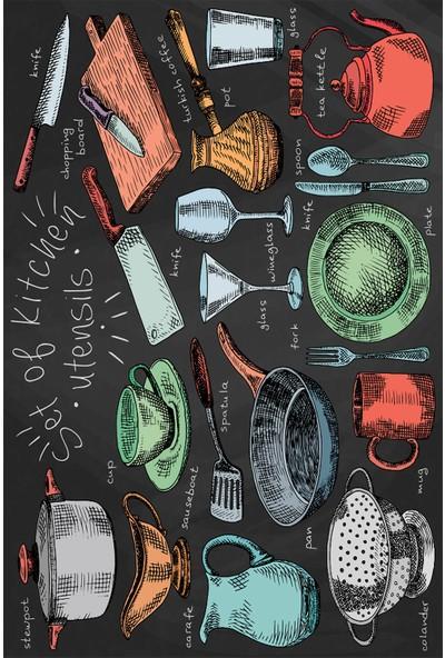 Resmiro Mutfak Malzemeleri Çizimi Dijital Baskılı Halı