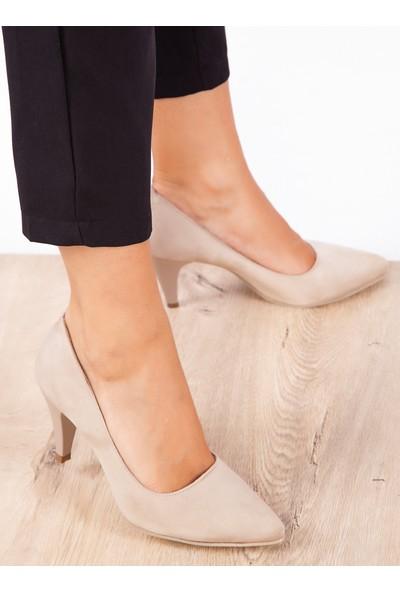 Ayakkabı Havuzu Topuklu Ayakkabı Bej Süet