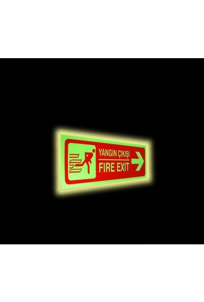 Passpano Fosforlu Pvc Sticker YANGIN ÇIKIŞ SAĞ 12 x 36 cm