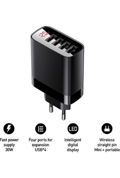 Baseus 30W 4x USB Hızlı Şarj Adaptörü Siyah (İthalatçı Garantili)