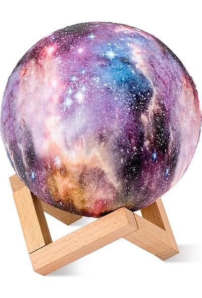 Galaxy Gece Lambası - Ahşap Standlı - 3D - 6 Renk - 1. Kalite Ithal Ürün