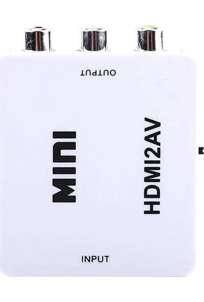 Gplus HDMI To Av Mini Switch Full Hd HDMI Rca Composit Görüntü Çevirici Dönüştürücü - Beyaz