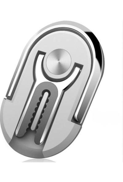 Coverzone 3in1 Yüzük Tutuculu Standlı Klips Araç İçi Telefon Tutucu Gümüş