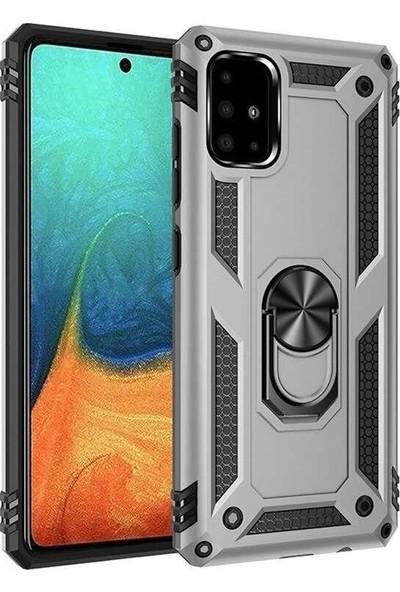 Coverzone Samsung Galaxy A51 Kılıf Shockproof Standlı Yüzük Tutuculu Mega Case Vega100 Gri + Nano Glass