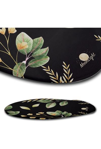 Moon Light Black Flower Bilek Destekli Mouse Pad