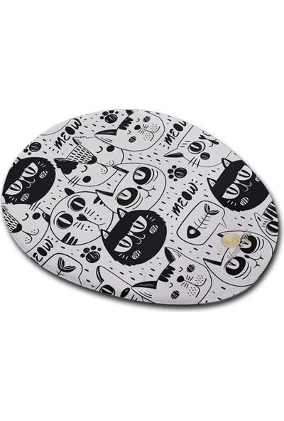 Moon Light Cat Black White Bilek Destekli Mouse Pad