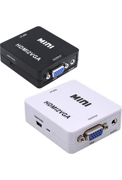 Gplus HDMI To VGA Mini Switch Full Hd HDMI VGA Görüntü Çevirici Dönüştürücü HDMI2VGA - Beyaz
