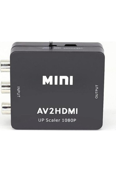 Gplus Av To HDMI Mini Switch Rca Composit Audio Video HDMI Görüntü Çevirici Full Hd ve 720P Dönüştürücü - Siyah