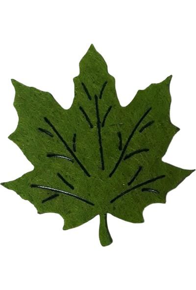 Dünya Hediye 4,5 cm Keçe Koyu Yeşil Yaprak 10'lu Paket