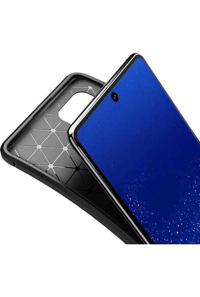 Coverzone Samsung Galaxy A81 Kılıf Karbon Delüx Tpu Silikon Dlx Kahverengi + Nano Glass