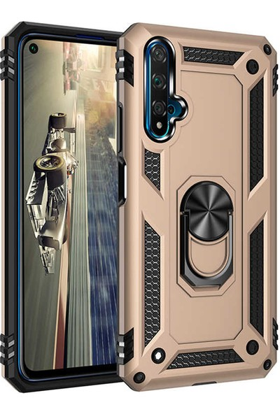 Coverzone Honor 20 Kılıf Shockproof Standlı Yüzük Tutuculu Mega Case Vega100 Gold + Nano Glass