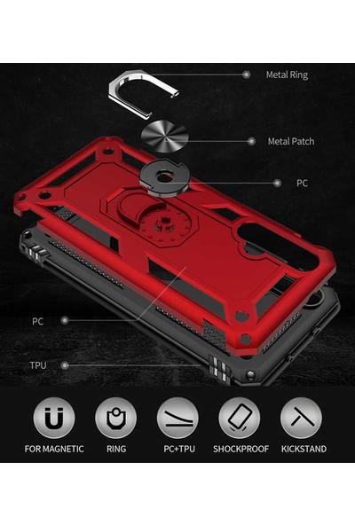 Coverzone Honor 20 Kılıf Shockproof Standlı Yüzük Tutuculu Mega Case Vega100 Mavi + Nano Glass