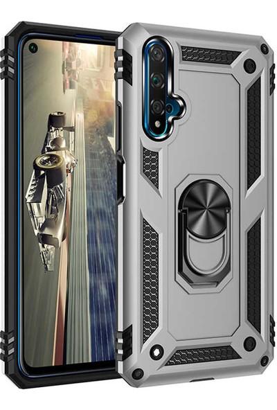 Coverzone Honor 20 Kılıf Shockproof Standlı Yüzük Tutuculu Mega Case Vega100 Gri + Nano Glass