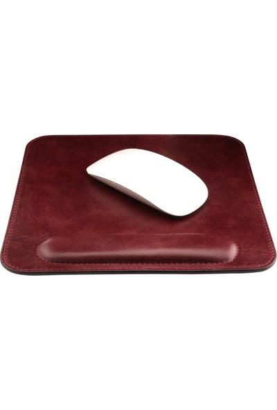 Londo Deri Bilek Destekli Rahatlatıcı Süngerli Mouse Pad - Bordo