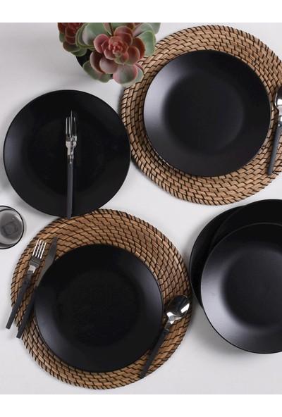 Keramika Mat Siyah Ege Servis Tabağı 25 Cm 6 Adet