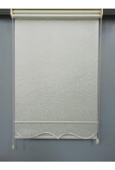 Esdeh Çift Mekanizmalı Örme Tül Stor Perde Etekli Model Kırık Beyaz