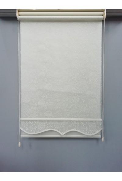 Esdeh Çift Mekanizmalı Desenli Örme Tül Stor Perde Etekli Model Kırık Beyaz