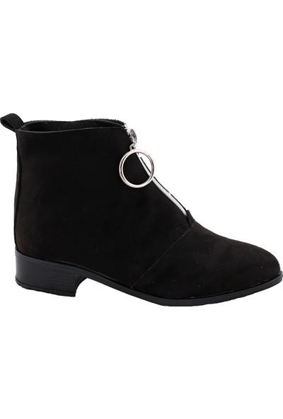 Miss Fonzo 05 Günlük Fermuarlı Kadın Süet Bot Ayakkabı Siyah 39