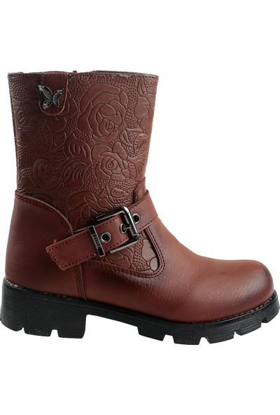 Elifsu 1837B Günlük Termo Taban Fermuarlı Kız Çocuk Bot Ayakkabı Taba 31