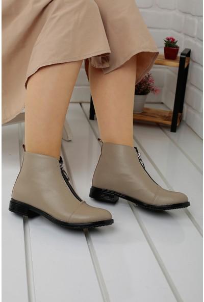 Rb Günlük Fermuarlı Kadın Cilt Bot Ayakkabı Vizon 36