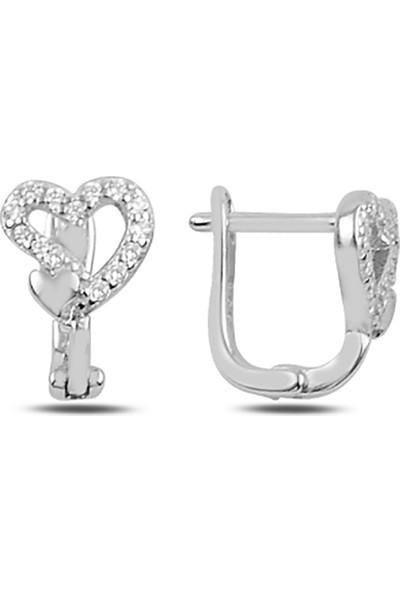Zuk Collection Zirkon Taşlı Kalp J Gümüş Çocuk Küpesi