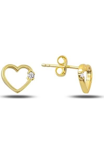 Zuk Collection Zirkon Taşlı Altın Kaplama Kalp Gümüş Küpe
