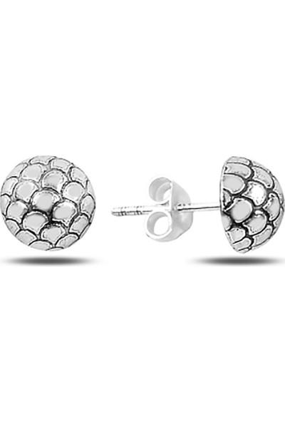 Zuk Collection Desenli Yarım Top Gümüş Küpe