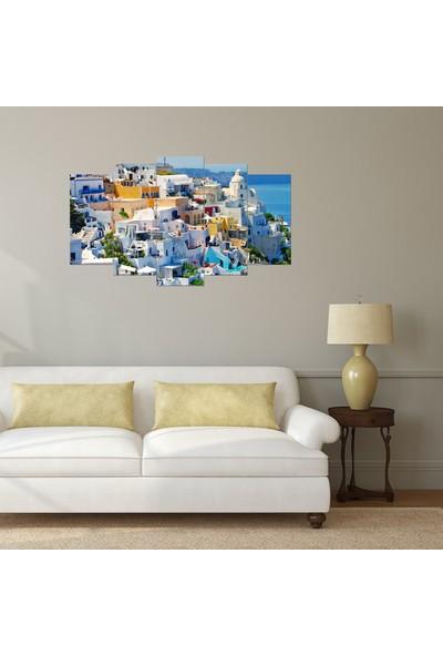 Alice Decor Santorini Adası Dekoratif 5 Parça Mdf Tablo
