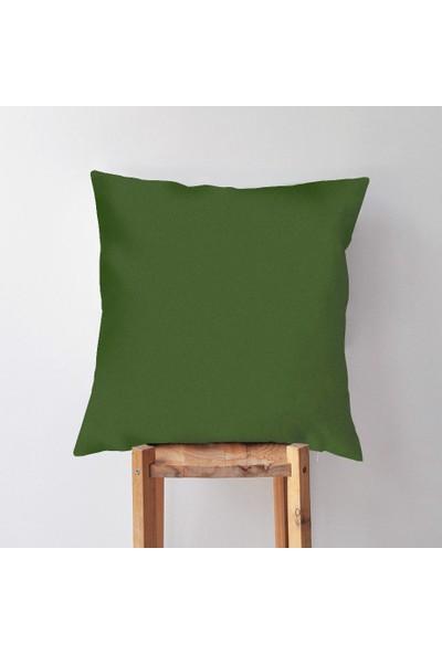 Dekorinyo Haki Yeşili Renkli Dekoratif Kırlent Kılıfı