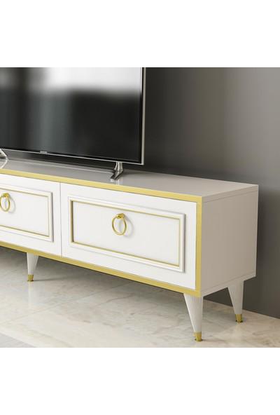 Arnetti Lorenz Tv Ünitesi Beyaz Gold